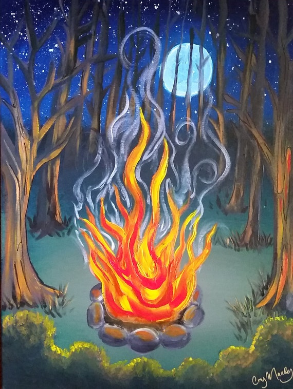Moonlight Campfire Original Acrylic Painting on 18x24 Canvas Campfire Painting