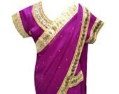 Children Indian traditional kids wedding Red Violet girl sarees for Bollywood Party wear online shops Midlands Nottingham London UK 1203