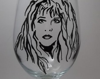 Stevie Nicks, Fleetwood Mac, Hand Painted Glass, Painted Wine Glasses