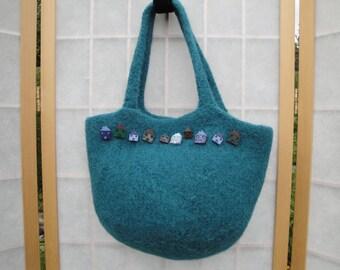 teal handbag, green felt purse, teal knitted bag, felt bag button trim, knitted felt purse, alpaca wool handbag, OOAK felt bag, felt handbag
