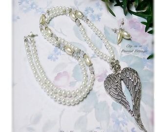 Angel Wings white pearl long necklace and earrings set