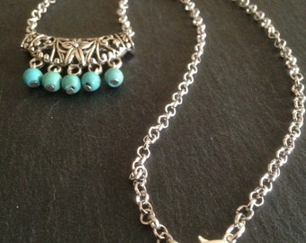 Turquoise necklace, Ethnic Necklace, Turquoise Jewellery, Bohemian, Tribal, Boho, Belly Dance, Gypsy