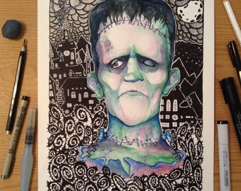 Frankenstein monster watercolor black lines art