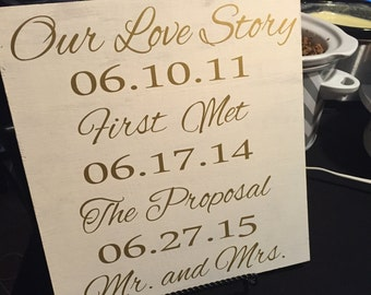 Personalized Wedding Sign- Our Love Story Wood Sign
