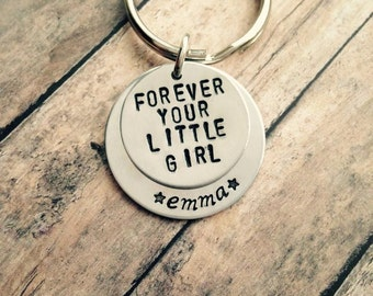 Handstamped personalized dad keychain - forever your little girl - new dad - fathers day present - birthday present - keychain - daughter