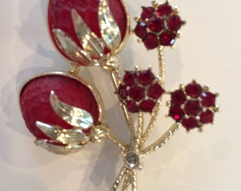 Sarah Coventry 1960s glowing Lucite strawberry pin