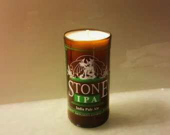 Stone Brewing IPA Beer Bottle Candle, YOU Pick Scent! Hand cut, Hand Polished, Maine made