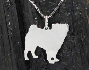 Silver 925, Pug Pug pendant Sterling Silver Pendant