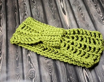 Classic Knotted Crochet Olive Green Headband