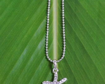 Silver Rhinestone Starfish Necklace
