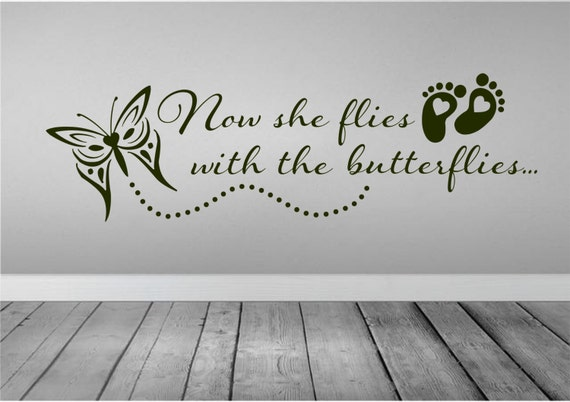 Items Similar To Now She Flies With Butterflies Wall Decal