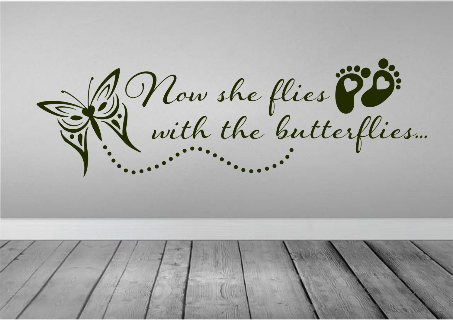 Now She Flies With Butterflies Wall Decal Car Decal In