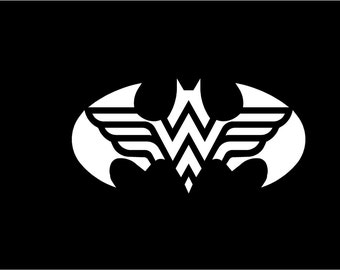 "12""x6.5"" Batman/Wonderwoman vinyl car Decal"