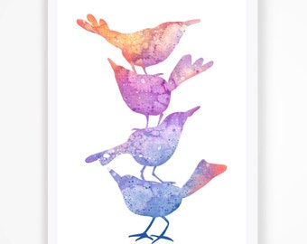 """Birds of wire in watercolor, Art Print, Watercolor painting, 8.3""""x11.7"""""""