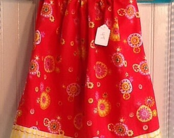 Red and yellow Pillowcase dress 4T