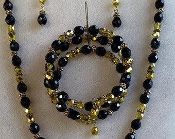 Black & Gold necklace, memory wire wrap bracelet and earring set