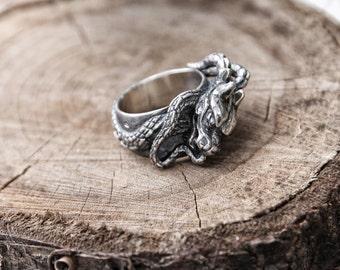 925 Silver Men Ring Dragon China Traditional