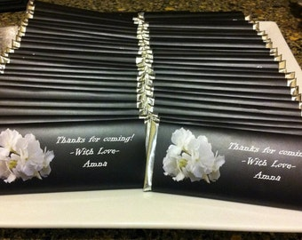 Thank you favors, Custom candy wrappers, Personalized gift, Black and white, Wedding favours, Anniversary, Corporate gifts, 24 ct.