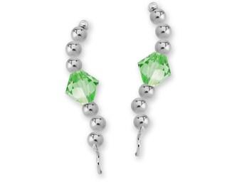 Sterling Silver Swarovski Crystal Center Beaded Ear Pin Earrings - Birthstone Series
