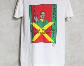 vintage tee, Malcolm X shirt,  By Any Means Necessary, Freedom for Everybody or Nobody,  white tee