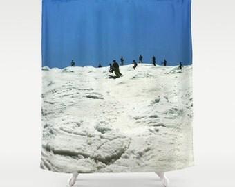 Spring Skiing, Shower Curtain,Winter Decor,Blue,White,Snow,Curtain,Bathroom Decor,Accessories,Bathroom Art,Designer Curtain,Interior Design