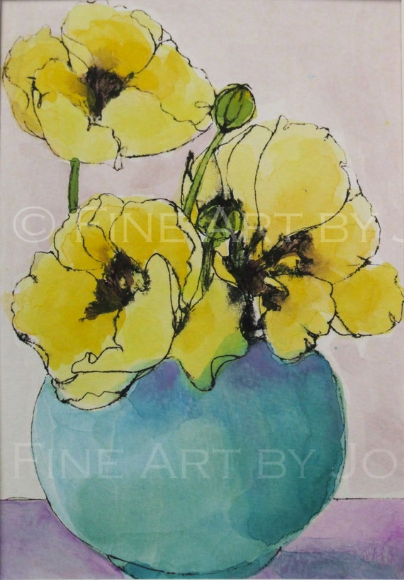 Items similar to Yellow poppies in blue vase, watercolor ...