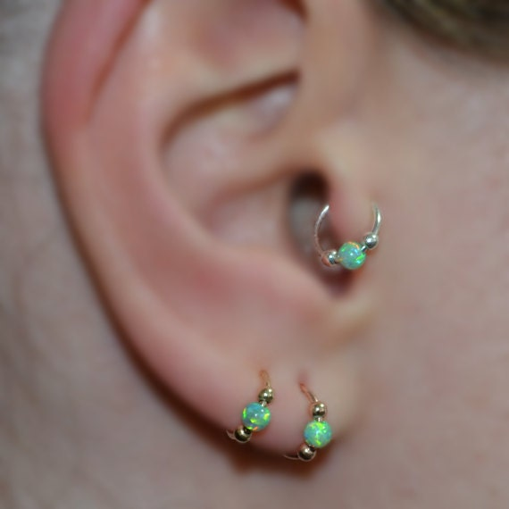 tragus jewelry hoops green opal tragus earring gold tragus hoop cartilage 3599