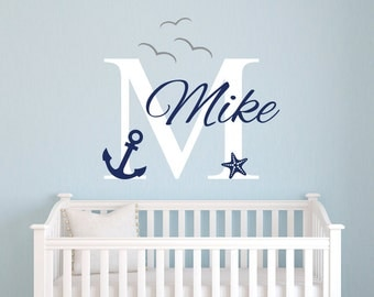 Name Wall Decal - Nautical Wall Decal - Nautical Baby Room Decor - Anchor Wall Decal - Nursery Wall Decals Vinyl