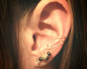 Double Wrapped Ear Cuff with Bead Accents