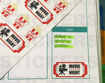 40 Movie Night and Popcorn Stickers (perfect for Planner)