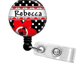 Ladybug Personalized Basic Retractable ID Badge Holder or Lanyard