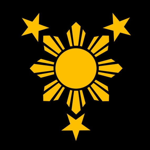 Filipino Pinoy 3 Stars And Sun Logo Vinyl Decal By