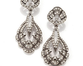 Silver Pave Crystal Chandelier Earring, Scallop Shell Design