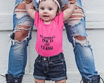 Pink or Black Baby Onesie-My Mommas Ink'd &.Classi