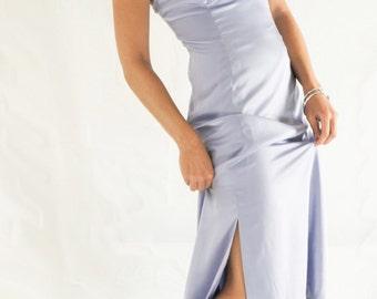 Evening dress, handmade dress, long dress, sleeveless dress, lavender dress, simple dress, jeweled straps