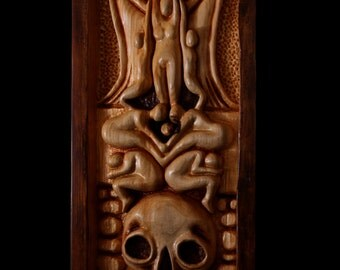"Wood Carving, Wall Art, Norse Mythology ""Valhalla"""