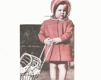 Vintage Baby Girl Coat and Bonnet Pattern, 1950s Knitted Toddler Patterns, Instant Download, PDF, Knitted Baby Girl Pattern, Toddlers Coat