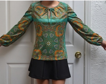 50% OFF everything in shop--- 60's Andrea Gayle Psychedelic Long Sleeve Silky Paisley Blouse Top