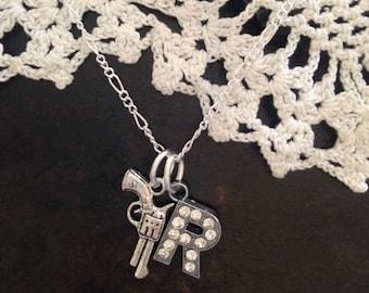 Rhinestone Monogram Gun Necklace