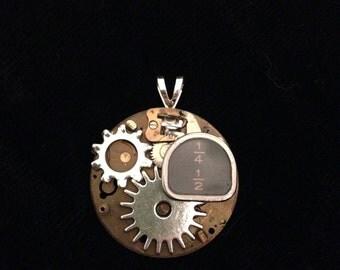 Typewriter Key and Gears Pocket Watch Pendant