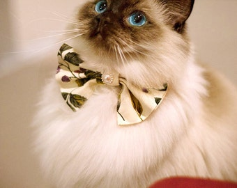 Cat collar Bow Tie>>Vintage Cat Accessories【Harvest season】with pearl