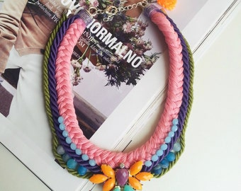 Statament Necklace Colorful Necklace Rope Necklace Bib Necklace Crochet Necklace Fabric Bib