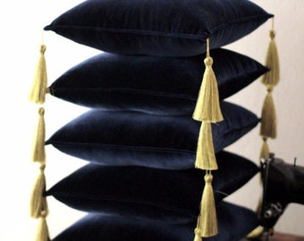 "Velvet pillow 14"" with golden tassel, stand pillow, display pillow , baptism cushion, decorativ pillow,gold tasseled pillow"