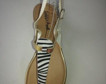 Zebra Print Inspire leather Sandal /Black Sandal/Summer Shoes/ White Women Slipper/ Black&White Sandal/ Women Shoes