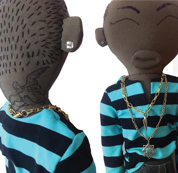 Doll pharrell by yanaraydolls on etsy for Pharrell neck tattoo