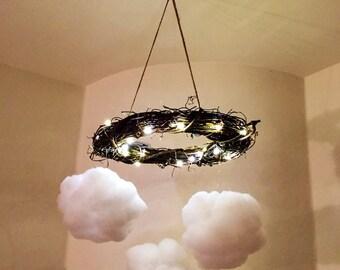 Cloud Light Mobile (woven grapevine wreath)