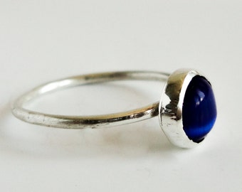 Sterling Silver ring , Cat eye stone ring , Simple ring , Blue stone ring