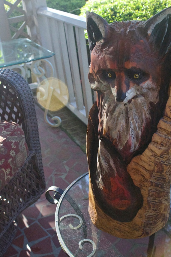 Stump fox chainsaw carving by boonhillgallery on etsy