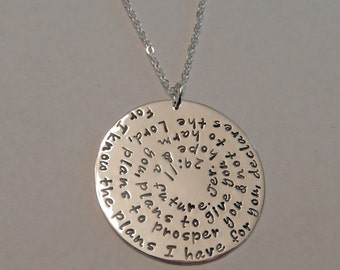 """Jeremiah 29:11 Necklace Hand Stamped ~ Bible Verse Necklace ~ Scripture Necklace ~ Round Extra Large Big 1 1/2"""" Sterling Silver Entire Verse"""