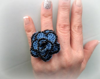 Crocheted Flower Ring / Blue waxed Cord & Black Beads / Celebration Gift / Crocheted Jewelry / Whimsical / Crochet Ring